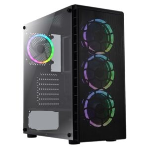 CiT Raider Air Mid Tower 1 x USB 3.0 / 2 x USB 2.0 Tempered Glass Side Window Panels Black Case with with Addressable RGB LED Fans