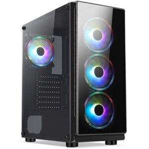 Cronus Achos Mid Tower 1 x USB 3.0 / 2 x USB 2.0 Tempered Glass Side & Front Window Panels Black Case with Addressable RGB LED Fans